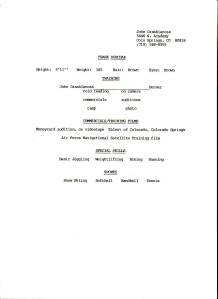 F. P. Dorchak Acting/Modeling Resume (John Casablancas , D