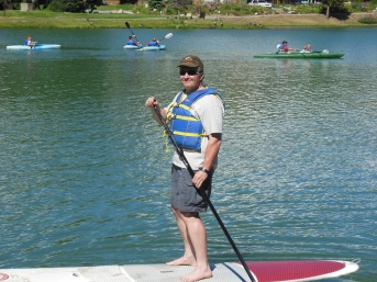 Don't I Look Positively Sporty? Keystone Lake, Colorado. Stand-up Paddle Boarding, July 25, 2015.