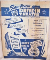Sara-Placid Drive-in Handbill. (Image by Drive-In 54, on http://cinema treasures.org, uploaded 9/26/15, Creative Commons [Attribution] License)