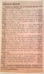 Dr. Clifford Bennett Obituary, 1987