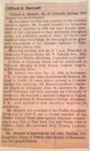 Dr. Clifford Bennett Obituary, 1987
