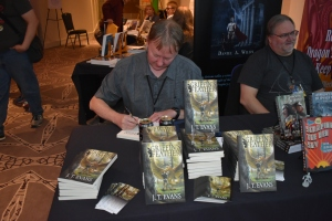 J. T. Evans Signing My Copy of His Book (© F. P. Dorchak, Oct 20, 2018)