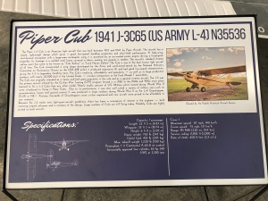 Piper Cub Placard, Weisbrod Aircraft Museum. (© February 15, 2020 F. P. Dorchak)