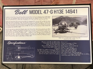 Bell 47 Helicopter Placard, Weisbrod Aircraft Museum. (© February 15, 2020 F. P. Dorchak)