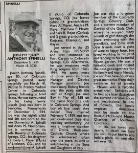 Joe Spinelli, Dec 5, 1934 - March 18, 2020 (Obituary Courtesy of The Gazette)