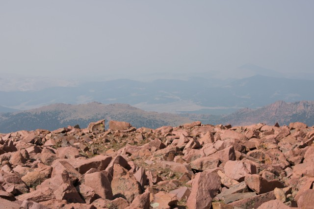 Pikes Peak Summit Rock. And Haze. Lots of Haze. (© 2020 F. P. Dorchak)