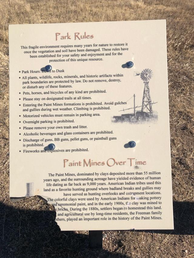 Paint Mine Park Rules (© 2020 F. P. Dorchak)